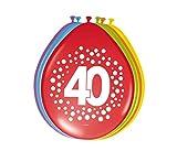 Party Collection Lote DE 16 Globos Motivo Número 40 Cumpleaños Fiesta Surtidos Colores Arcoiris Lunares
