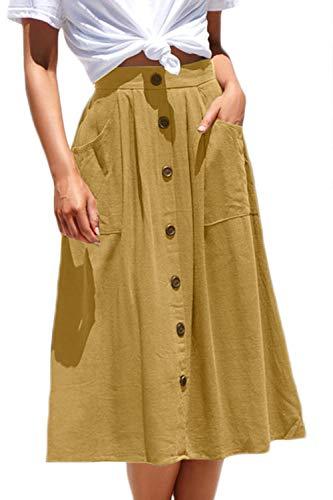 Meyeeka Elastic Waist Pleated School Skirt for Women Plus Size Flared Pocket Midi Skirt XL Yellow