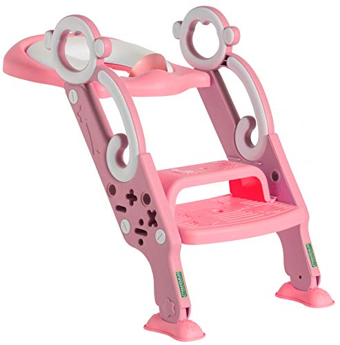 Toddler Toilet Training Seat with Non-Slip Ladder: Foldable Padded Potty Trainer with Step for Girls and Boys (Pink)