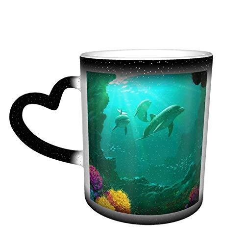 Taza de café mágica cambiante, diseño de delfín de coral artístico bajo el agua personalizable, para manualidades, cerámica, sensible al calor, taza de café con leche, regalo de cumpleaños