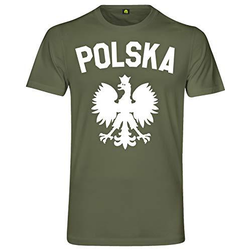Polska Adler T-Shirt | Polen | Polnisch | Polka | Warschau | Krakau | Breslau Militär Grün XL