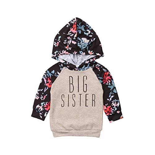 SBTD SBTD Niedliche Kinder Baby Mädchen Kleidung Outfits Big Sister Hooded Sweatshirt Blumendruck Baby Pullover (100, Grau)