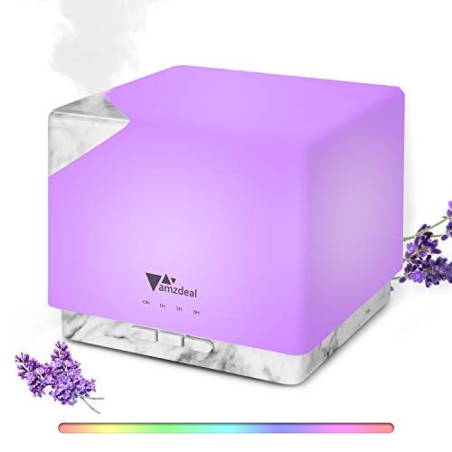 amzdeal 700ml Aroma Diffuser, Luftbefeuchter Ultraschall mit 7 Farben LED und Automatischer Abschaltung, BPA-Free Öle Diffusor Aromatherapie für Schlafzimmer, Büro, Yoga, Spa