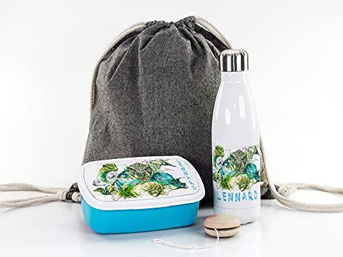 Dinosaurier Geschenke-Set Junge Einschulung, Sportbeutel, Brotdose + Thermo-Trinkflasche personalisiert mit Namen, Geschenk-Idee zum Schulanfang