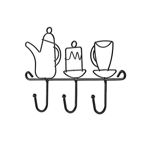 ZYLZL Abrigos de Ropa de Metal Creativos, Perchero con Forma de Vajilla Encantadora, Adecuado para Restaurante, Cocina, Sombrero, Delantal, Perchas Negras para Colgar el Perchero Del Pasillo,Negro,28