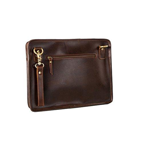 Niche Lane Tablet-Clutch-Tasche aus Leder für iPad Pro 12,9 Zoll, MacBook Pro 13 Zoll, MacBook Air 12 Zoll, mit Schulter- und Handgelenkriemen, für Damen und Herren (Kaffee)
