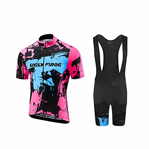 Uglyfrog Radtrikot Set Herren Fahrradbekleidung Kurzarm im Sommer Radfahren Jersey + Latzhose Bib Shorts