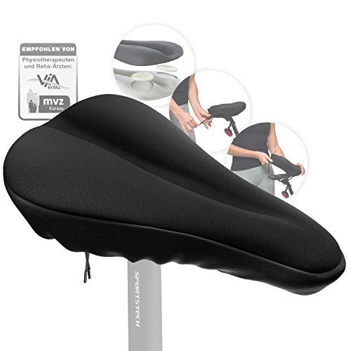 Sportstech Cubierta de Gel Sillín Bicicleta | Transpirable y Antideslizante | Asiento de Silicona Suave 28 * 18/27 * 25cm | Bicicleta de montaña, Urbana o estática | Cubierta y Funda BSS100/BSS110