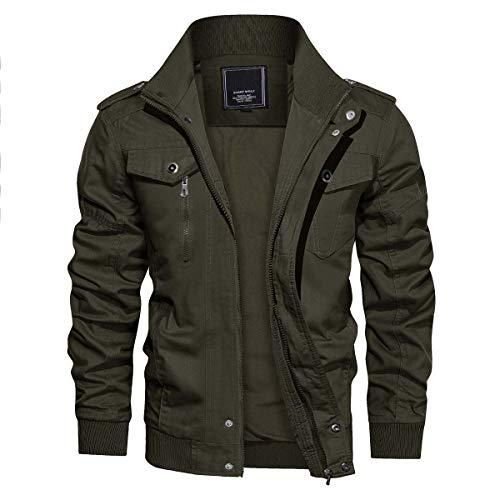 CRYSULLY Men's Fall Winter Fashion Classic Outdoor Jacket Enclosure Army Coats Flight Jacket Green/US S/Tag L