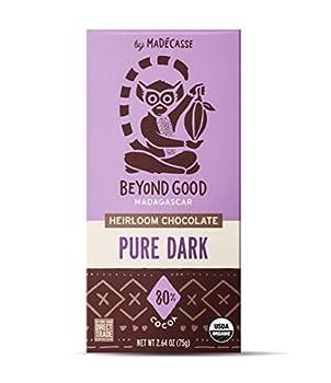 Beyond Good Chocolate Bar | 80% Pure Dark Chocolate | Direct Trade Organic Kosher Non GMO Vegan Soy Free Gluten Free Single Origin Madagascar Dark Chocolate