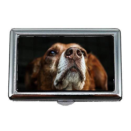 Zigaretten-Aufbewahrungsbehälter / -Kasten, Hund Brown-Schnauze-Pelz-hybrider Tierkopf-Porträt, Visitenkarte-Kartenhalter-Karten-Kasten rostfrei