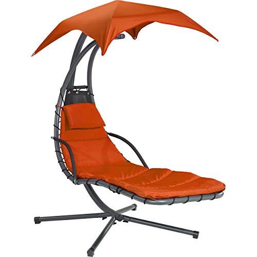 Euromate GmbH Sonnenliege Schwingliege Palmdale mit Sonnendach aus Textilen Terracotta | Schaukelliege mit Polsterauflage für bequemes Liegegefühl