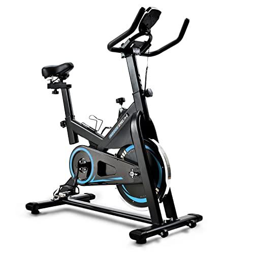 Bicicleta Spinning Estática para Interior Fitness | Ajuste de resistencia sin niveles | Monitor digital y asas de frecuencia de pulsación | Cinco niveles de ajuste de altura con Rueda de Inercia,Blue