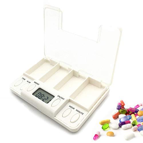 Elektronische Pil-Dispenser, Verpakking Medicijndoos Met Timer Alarm Medicatieherinneringen 4 Compartimenten Pillendoos Pil-Organizer Voor Dementiepatiënten Pillen, Vitamines, Visolie