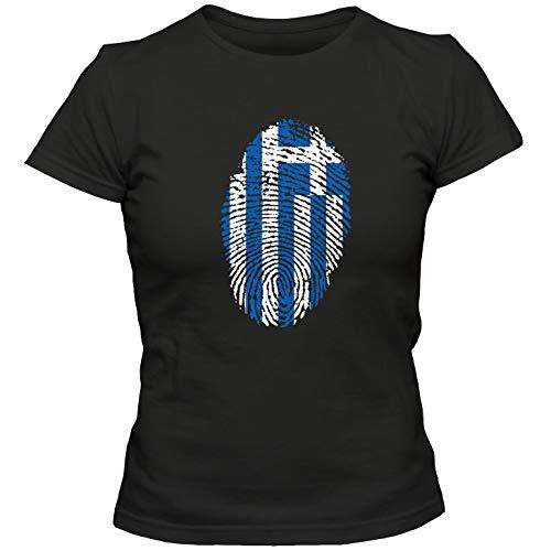 Damen T-Shirt Greece Griechenland Hellas Basketball Fußball Trikot Fingerabdruck WM EM, Farbe:schwarz, Größe:S