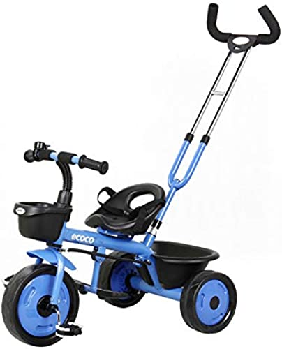 Kinder Dreirad 2-in-1 fürrad 2-5 Jahre Leichte Kinderwagen Jungen Und mädchen Trainingsfürrad Mit Kindersicherungsstange,Blau_B