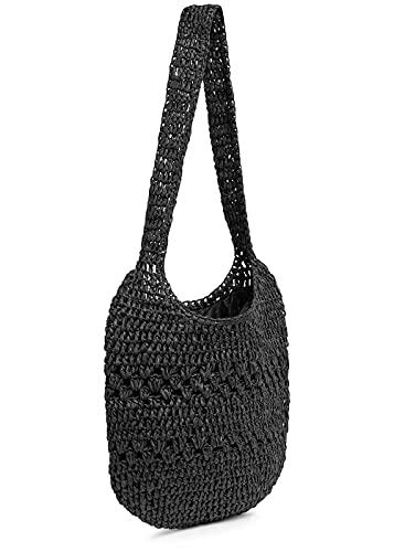 Hailys Damen Basttasche Shopper H36xB34cm mit Druckknopf schwarz