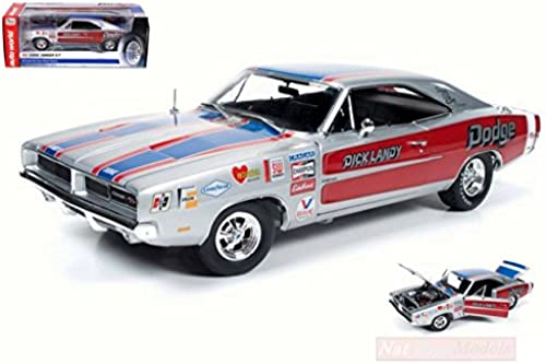 AUTO WORLD AW228 DODGE CHARGER R T 1969 DICK LANDY 1 18 MODELLINO DIE CAST MODEL