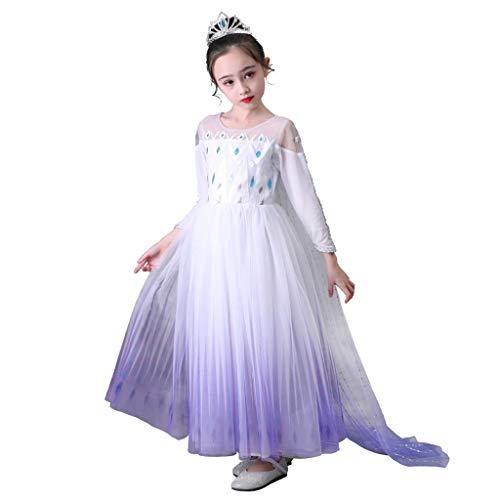 Lito Angels Vestidos de reina de las nieves 2 para niñas Disfraces Disfraz de princesa Elsa de fiesta Halloween cosplay con capa Talla 2 a 12 años Blanco 262