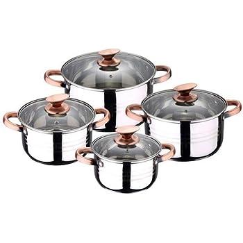 MAGEFESA ROYAL – Batería de Cocina MAGEFESA ROYAL 6 Piezas está Fabricada en Acero Inoxidable, Compatible con Todo Tipo de Fuego, INDUCCIÓN. Fácil Limpieza y Apta lavavajillas: Amazon.es: Hogar