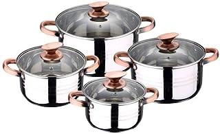 San Ignacio Premium Nona - Bateria de cocina de 4 piezas, acero inoxidable, 1.9L-2.7L-3.5L-5.1L, apta para todo tipo de cocinas incluido inducción, Cobre