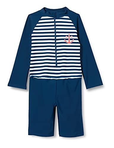 Playshoes Langarm Einteiler Maritim Costume a Pantaloncino, Navy/Bianco, 62/68 Bambino