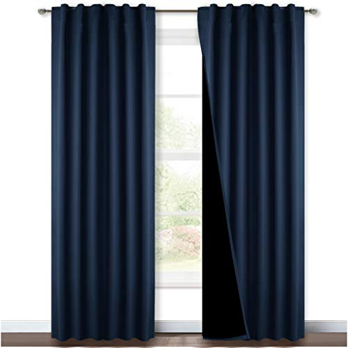 NICETOWN Total Blackout Curtain Set, Thermal Insulated & Energy Efficiency Window Draperies for Guest Room, Full Shading Panels for Shift Worker and Light Sleepers, Navy, 52W x 84L, 2 PCs