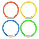 Dive Rings Diving Pool Toys, 4 Pack Pool Toy Rings Underwater Swimming Pool Diving Rings Toys for Kids Colorful Easy to Find and Grab