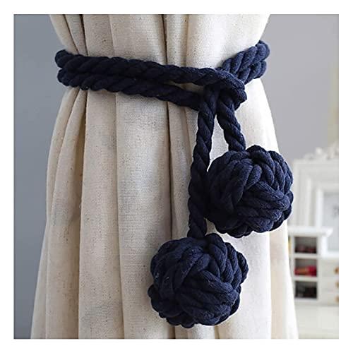 Anillo de cortina con borla, alzapaños hechos a mano, un par de clips de cortina de algodón con borla, lazo de cuerda de algodón, accesorios de cortina (beige) (color: azul oscuro)