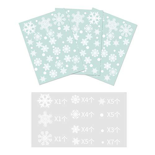 Stickers voor kerstdecoraties voor ramen, geen lijm, milieuvriendelijk kan de stickers van glas verwijderen, stickers voor ramen gecombineerd met statische sneeuwvlokken.