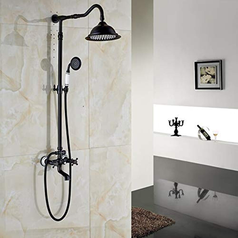 Luxus 8 Zoll Regendusche Set Dual Cross Griffe drehen Badewanne Wasserhahn Bad Showr Mischbatterie mit Handbrause