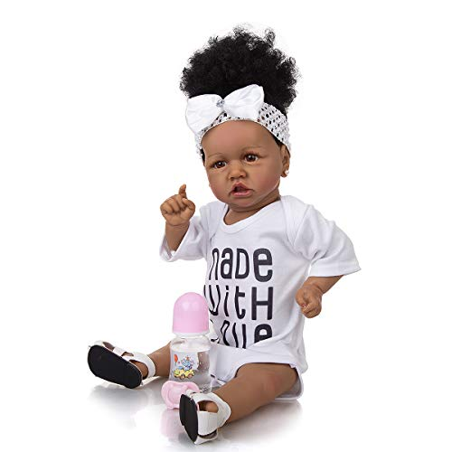 Meacety Full Silicone Reborn Baby Dolls with Realistic African American 22.8 inches Girl Doll Weighted Newborn Dolls Gift Set