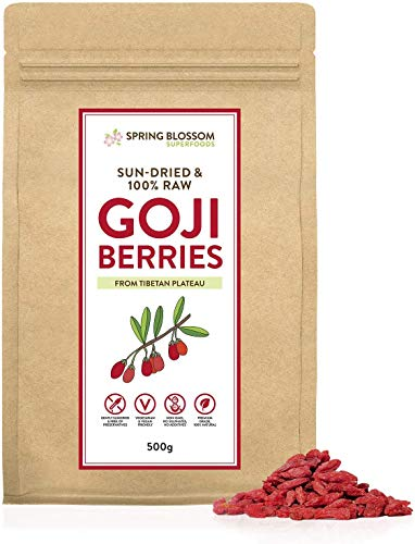500G 100% Natural Goji Berries from Tibetan Plateau, Large RAW & Sun-Dried, Pure Wolfberry Fruit Snack, No Additives, Pesticides, Sulphites, Non-GMO, Gluten-Free, Vegan/Vegetarian Healthy Superfood