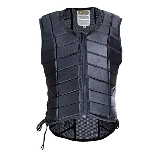 UNISTRENGH Equestrian Vest Professional Safety EVA Padded Horse Riding Vest Body Protector Gear Waistcoat Unisex Black Zipper Waistcoat for Adult Men Women Kids Children (Large)