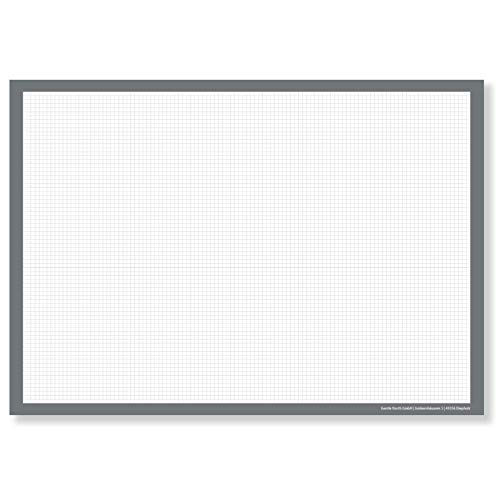 Schreibtischunterlage Kariert (DIN A2 Groß) - Papier Block Zeichenblock zum Abreißen - Karierte Unterlage für Schreibtisch im Büro - Tischunterlage Weiß - Technischer Zeichenblock