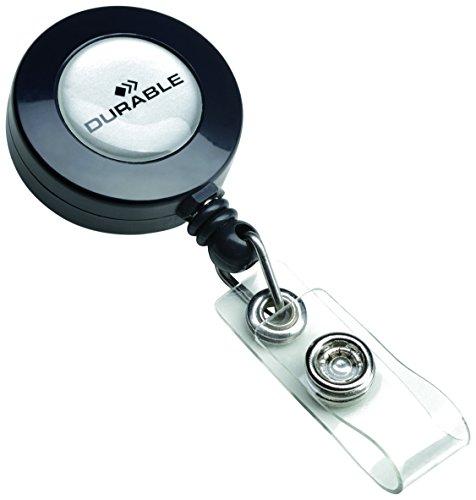 Durable Badge Reel - Soporte de tarjeta identificativa con cordón retráctil (10 unidades, extensible hasta 80 cm), gris