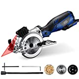Homitt Circular Saw with Laser Guide 705W 3500RPM, Electric Saw with 3 Saw Blades (115mm), Edge Guide, Max Cutting Depth...
