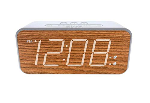 """SHARP Dual Alarm with Jumbo Easy to Read 1.8"""" White LED Display and Faux Wood Finish – 3 Step Dimmer Control – Dual Alarms, Set Two Alarm Times - Battery Back-up – SPC736"""