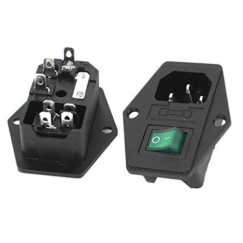 Entrada de potencia - TOOGOO(R)2 Pcs IEC 320 C14 zocalo de energia de interruptor de lampara verde de AC 250V