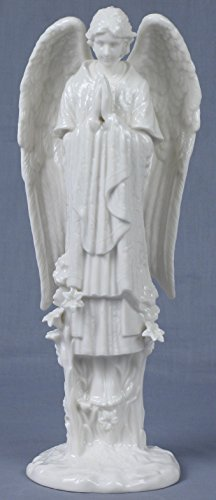 11.25 Inch All White Porcelain Figure Hovering Nativity Angel Praying