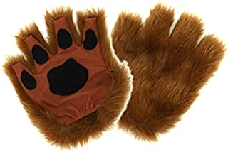 Brown Dog Cat Bear Fingerless Costume Paws for Adults by elope