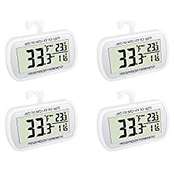 Image of Waterproof Refrigerator Fridge Thermometer, Digital Freezer Room Thermometer, Max/Min Record Function Large LCD Screen and Magnetic back for Kitchen, Home, Restaurants (4 pack): Bestviewsreviews