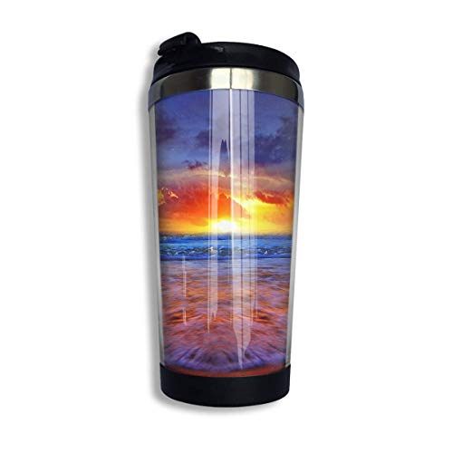 Qurbet Mug de Voyage, Tasse à Café Sunset with Wave Travel Coffee Thermal Mug 10 Oz Gobelet de Voyage Isotherme Perfect for Travel, Camping, Hiking, The Beach and Sports