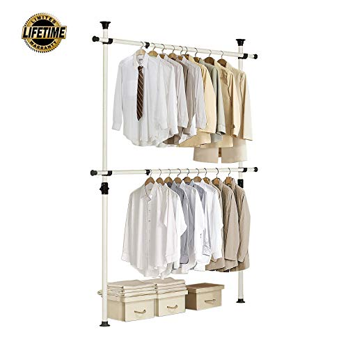 PRINCE HANGER | One Touch Double Adjustable Hanger | Holding 80kg(176LB) per horizontal bar | Heavy Duty | 38mm Vertical pole | Clothing Rack | Clothes Organizer | Garment Rack | PHUS-0023
