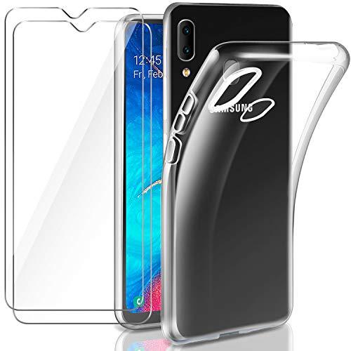 Leathlux Coque Samsung Galaxy A20e Transparente + 2 × Verre trempé Protection écran, Souple Silicone étui Protecteur Bumper Housse Clair TPU Gel Case Cover Coque pour Samsung Galaxy A20e 5.8'