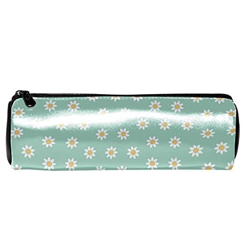 EZIOLY Little White Daisy - Estuche de piel verde claro para lápices, monedero, bolsa de maquillaje para estudiantes, papelería, escuela, trabajo, oficina, almacenamiento
