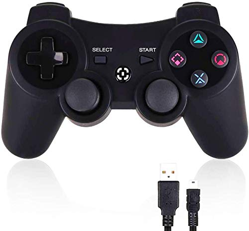 PS3 Controller Wireless PS3 Games Remote - YU33 Dualshock Gamepad, Best Gifts for Kids, with USB Charger Cable (Black)