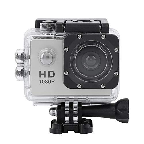 Action Camera, LCD TFT da 2,0 Pollici Full HD 1080P Impermeabile 30m Telecamera Sportiva Supporto TF Card 32GB, 140 ° grandangolo con batterie Ricaricabili 900mAh (Argento)
