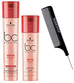 Schwarzkopf BC Bonacure REPAIR RESCUE SHAMPOO & CONDITIONER Duo SET for FINE TO NORMAL DAMAGED HAIR  with Sleek Steel Pin Tail Comb   8.5 oz / 6.8 oz - ORIGINAL DUO KIT