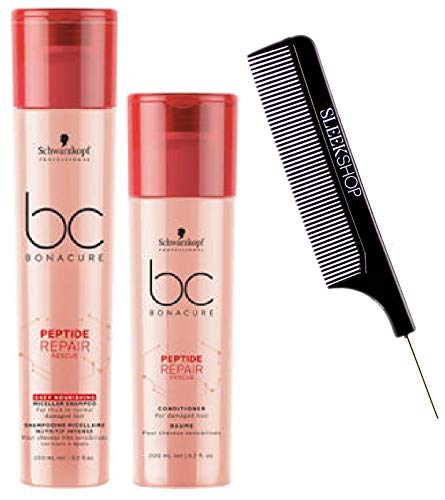 Schwarzkopf BC Bonacure REPAIR RESCUE SHAMPOO & CONDITIONER Duo SET for FINE TO NORMAL DAMAGED HAIR (with Sleek Steel Pin Tail Comb) (8.5 oz / 6.8 oz - ORIGINAL DUO KIT)